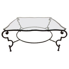 French Wrought Iron and Glass Coffee Table Manner of Gilbert Poillerat