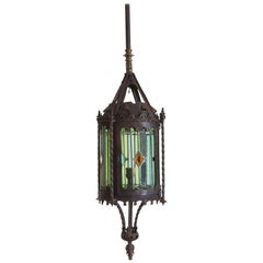 French Wrought Iron and Leaded Glass Gasolier Lantern from the 19th Century