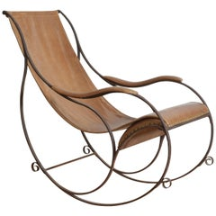 French Wrought Iron and Leather Upholstered Rocking Chair