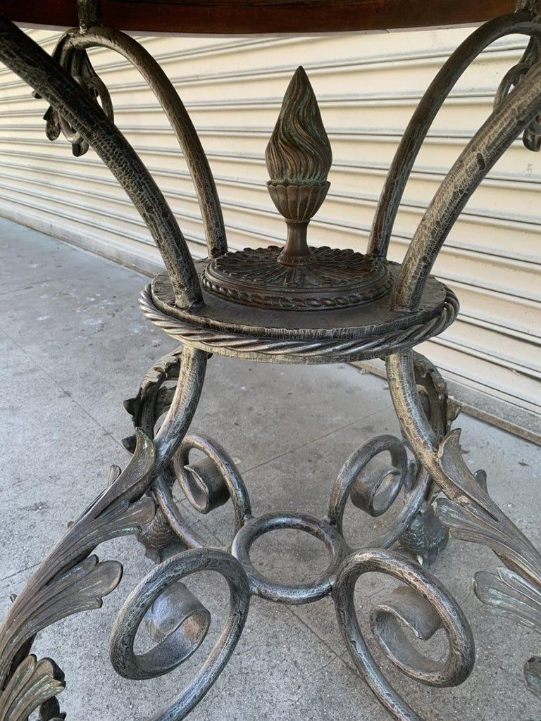 French Wrought Iron and Marble-Top Center Table For Sale 4