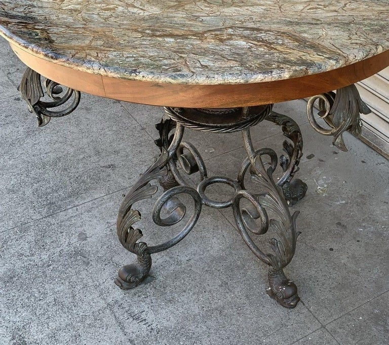 French Wrought Iron and Marble-Top Center Table In Good Condition For Sale In Los Angeles, CA