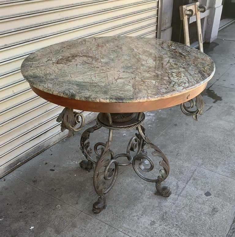 Late 20th Century French Wrought Iron and Marble-Top Center Table For Sale