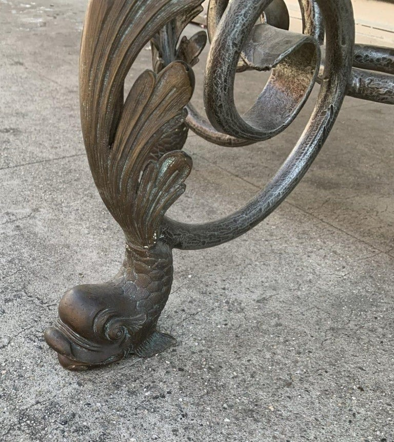 French Wrought Iron and Marble-Top Center Table For Sale 2
