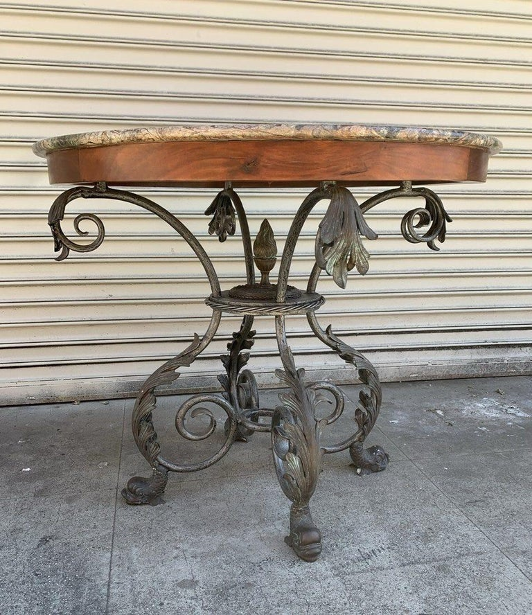 French Wrought Iron and Marble-Top Center Table For Sale 3