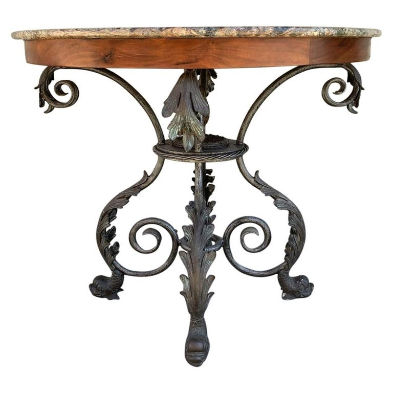 French Wrought Iron and Marble-Top Center Table For Sale