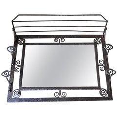 French Wrought Iron and Mirror Art Deco Coat / Hat Rack, circa 1930