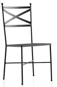 French Wrought Iron Black Painting Pair of Garden Bistro Outdoor Chairs