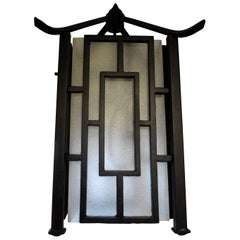 French Wrought Iron Chinese Chippendale Style Pagoda Lantern