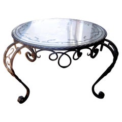French Wrought Iron Cocktail Table with Églomisé Top