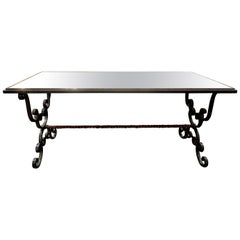French Wrought Iron Cocktail Table with Mirrored Top