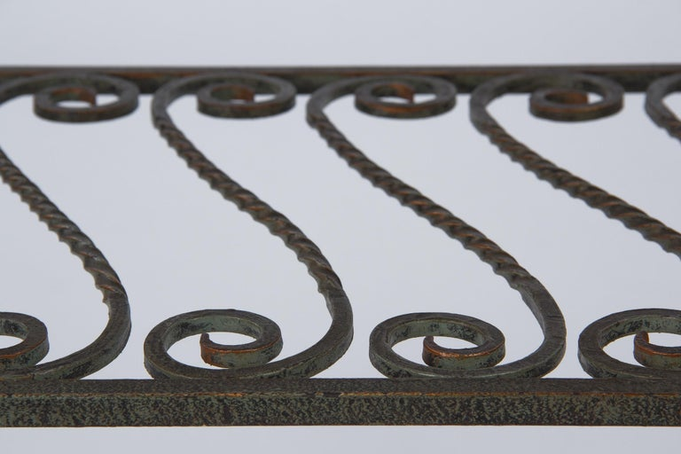 French Wrought Iron Console Table with Glass Top, 1940s For Sale 6