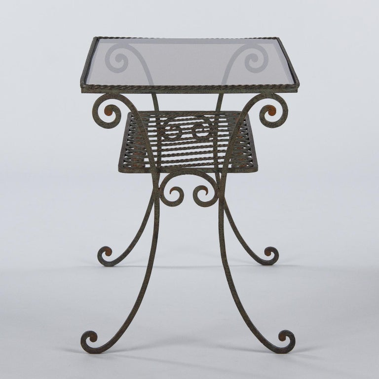 French Wrought Iron Console Table with Glass Top, 1940s For Sale 8