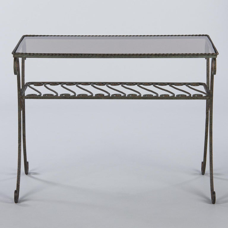 French Wrought Iron Console Table with Glass Top, 1940s For Sale 9