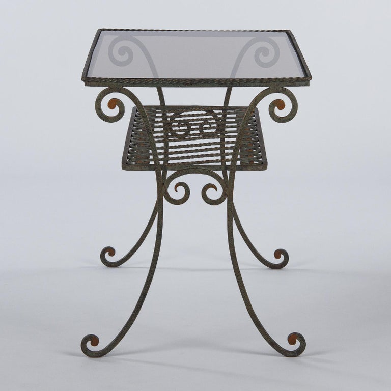 French Provincial French Wrought Iron Console Table with Glass Top, 1940s For Sale