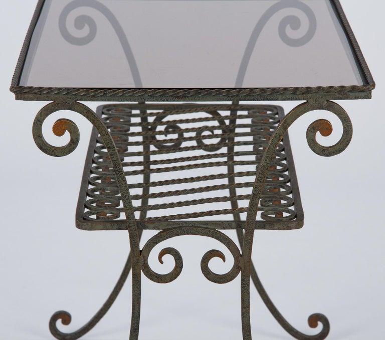 French Wrought Iron Console Table with Glass Top, 1940s In Good Condition For Sale In Austin, TX