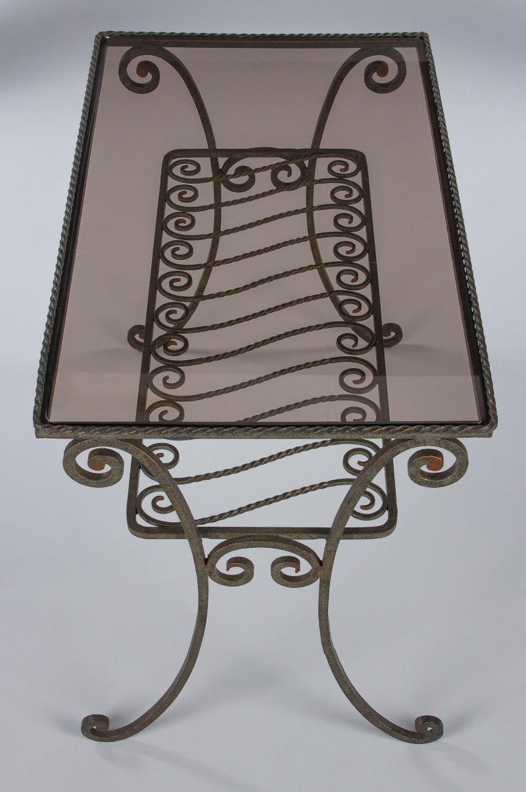 French Wrought Iron Console Table With Glass Top 1940s
