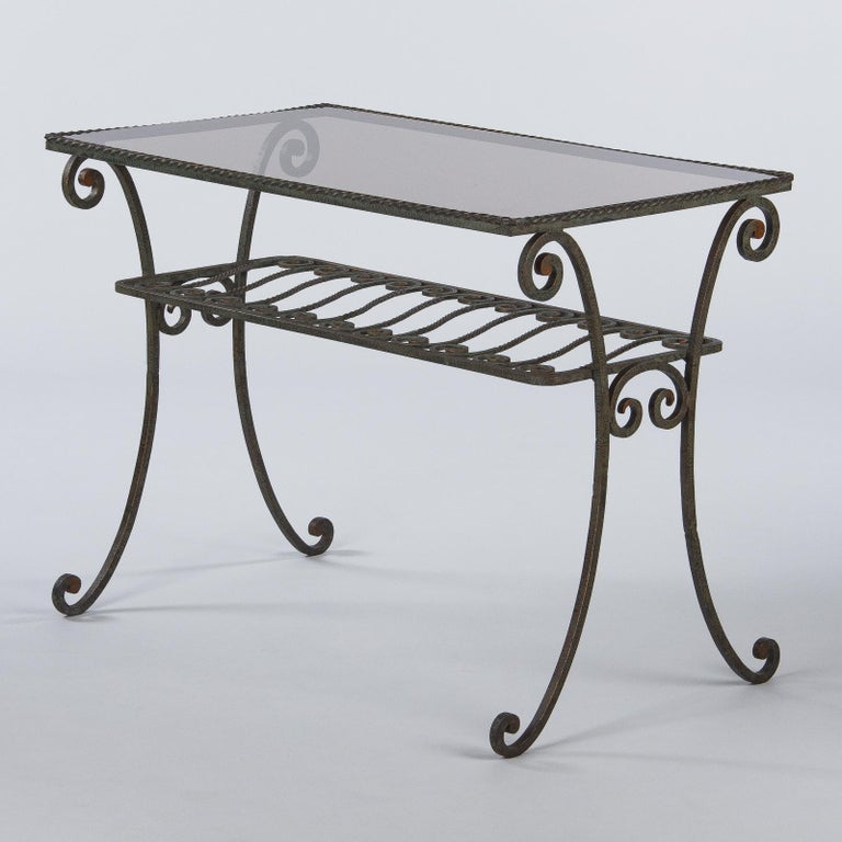 Smoked Glass French Wrought Iron Console Table with Glass Top, 1940s For Sale
