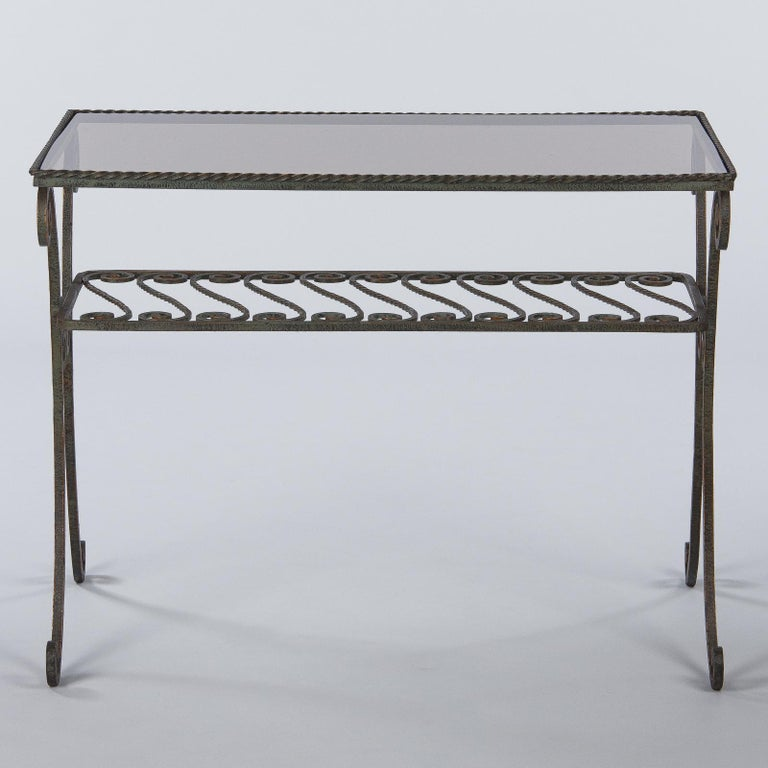 French Wrought Iron Console Table with Glass Top, 1940s For Sale 3