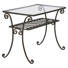 French Wrought Iron Console Table with Glass Top, 1940s