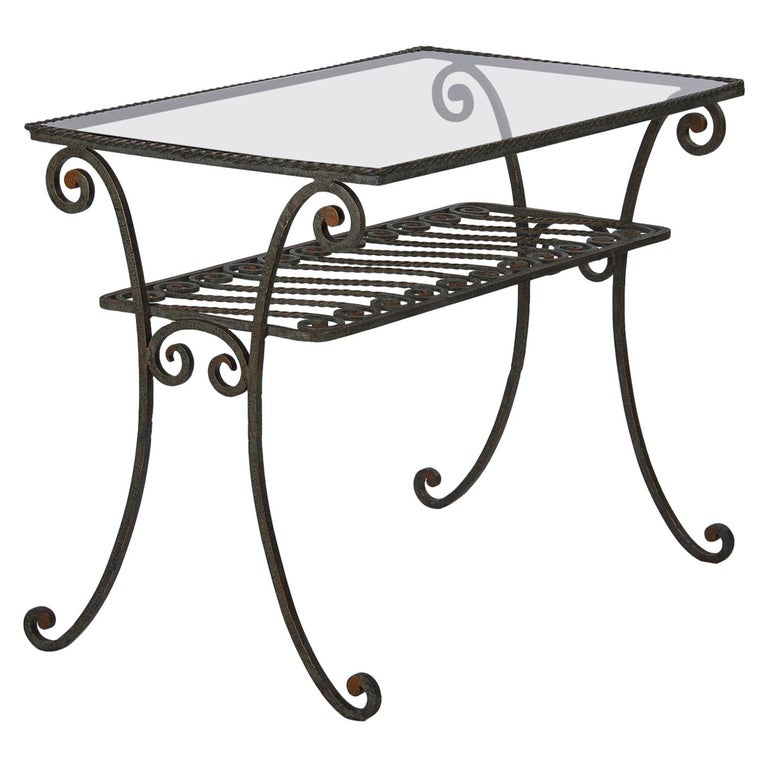 French Wrought Iron Console Table with Glass Top, 1940s For Sale