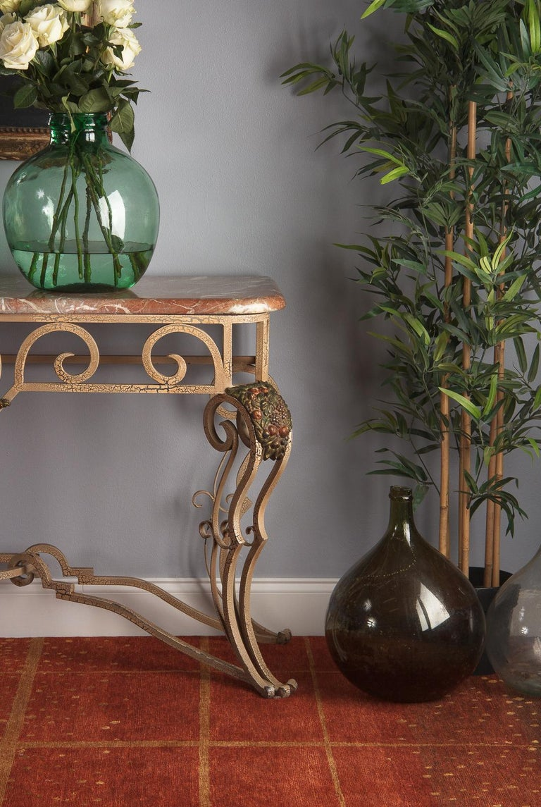 French Wrought Iron Console with Marble Top, 1950s For Sale 7