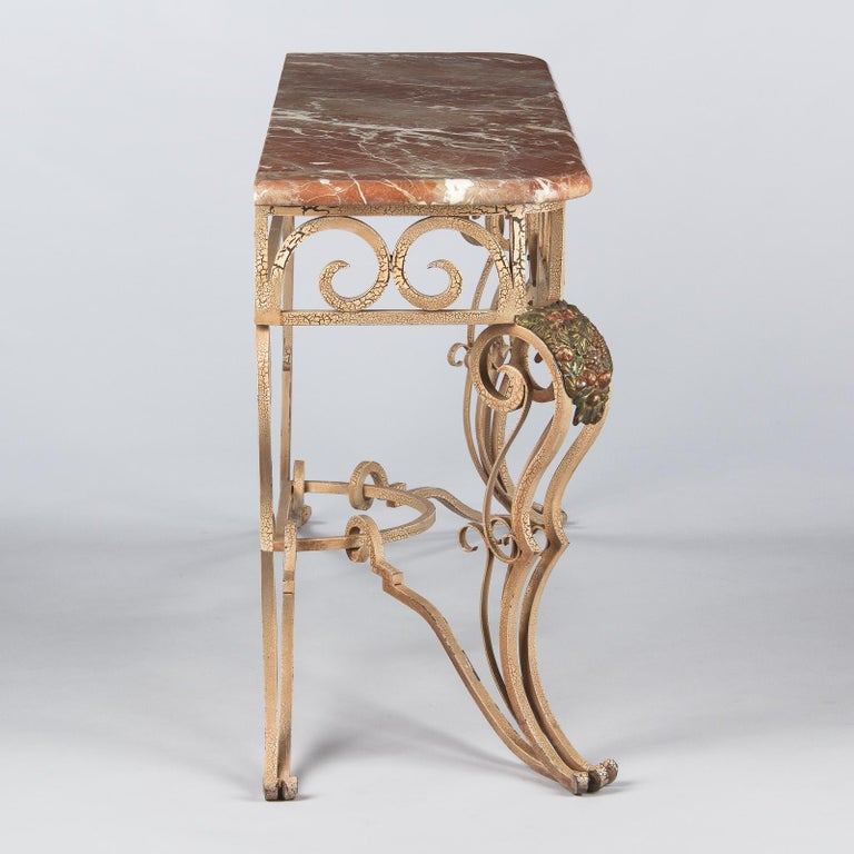French Wrought Iron Console with Marble Top, 1950s For Sale 8
