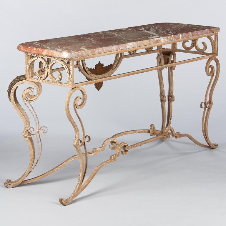 French Wrought Iron Console with Marble Top, 1950s For Sale 9