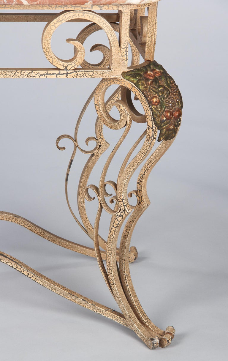 French Wrought Iron Console with Marble Top, 1950s For Sale 11