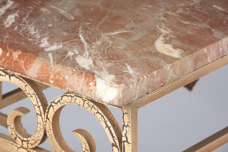 French Wrought Iron Console with Marble Top, 1950s For Sale 13