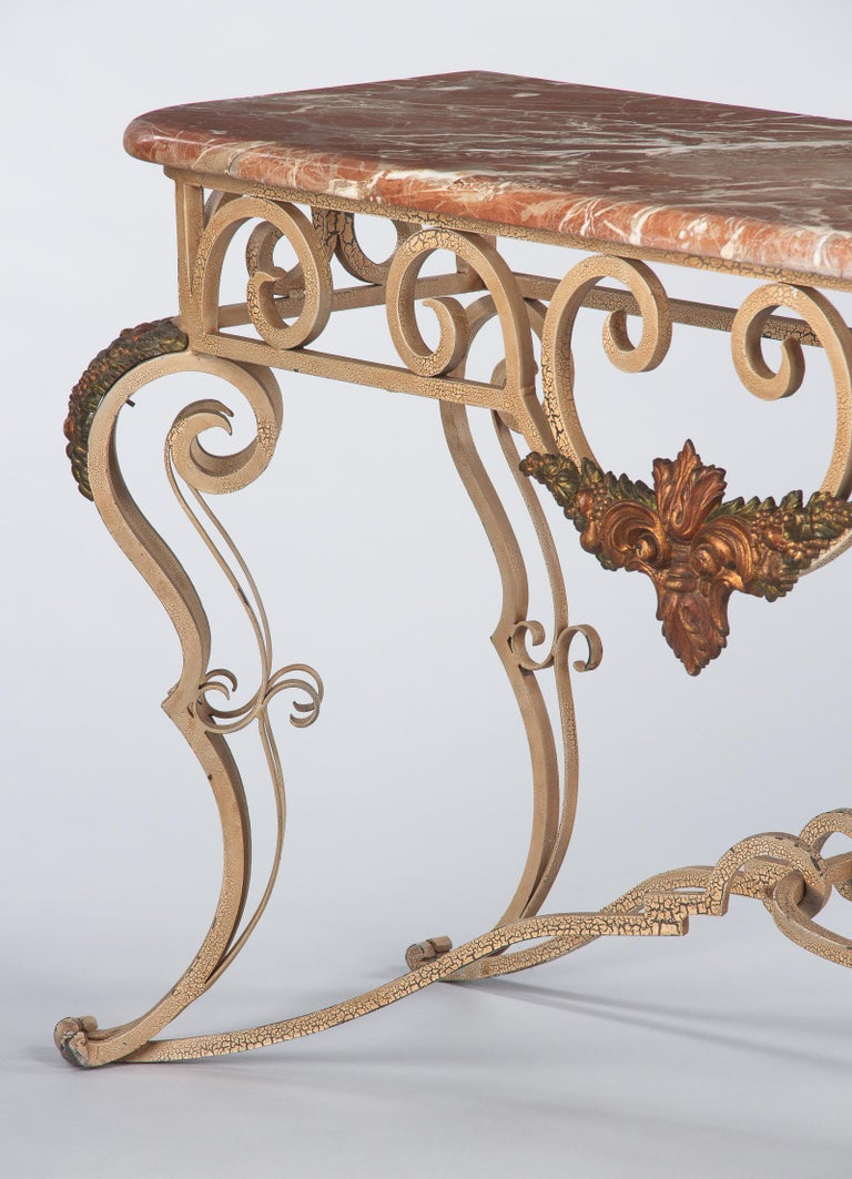 French Wrought Iron Console with Marble Top, 1950s In Good Condition For Sale In Austin, TX