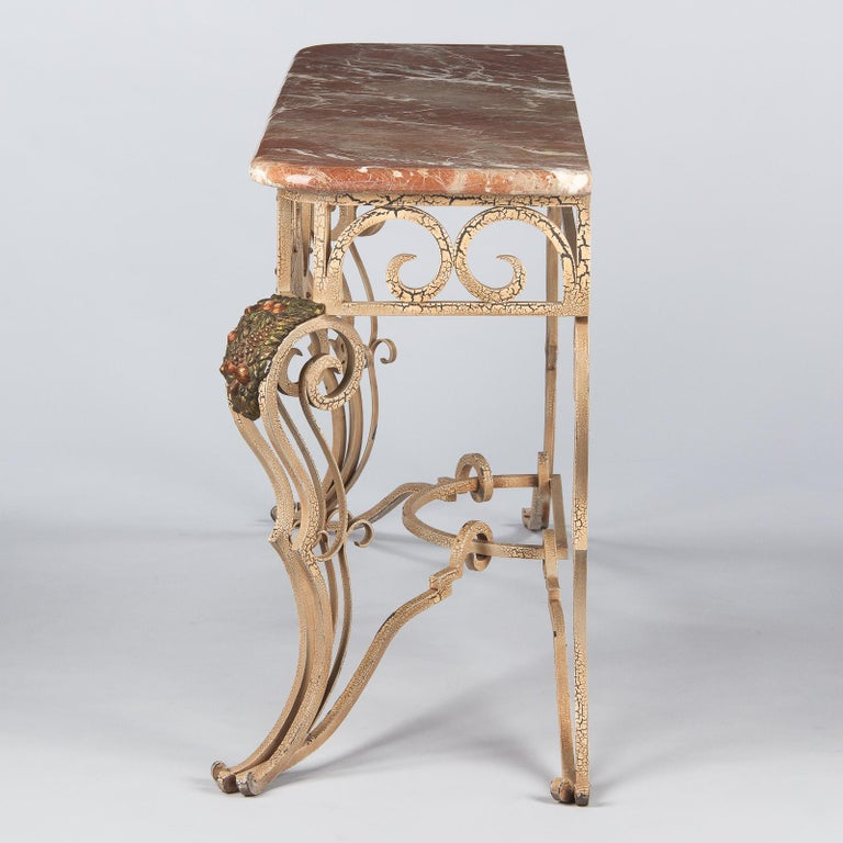 20th Century French Wrought Iron Console with Marble Top, 1950s For Sale