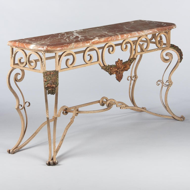 French Wrought Iron Console with Marble Top, 1950s For Sale 2