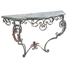 French Wrought Iron Console with Verde Antico Marble Top, circa 1900