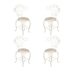 French Wrought Iron Fan Back Outdoor Patio Chairs, Set of Four
