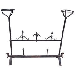 French Wrought Iron Fire Place Guard with Flanking Candle Holders, Circa 1780