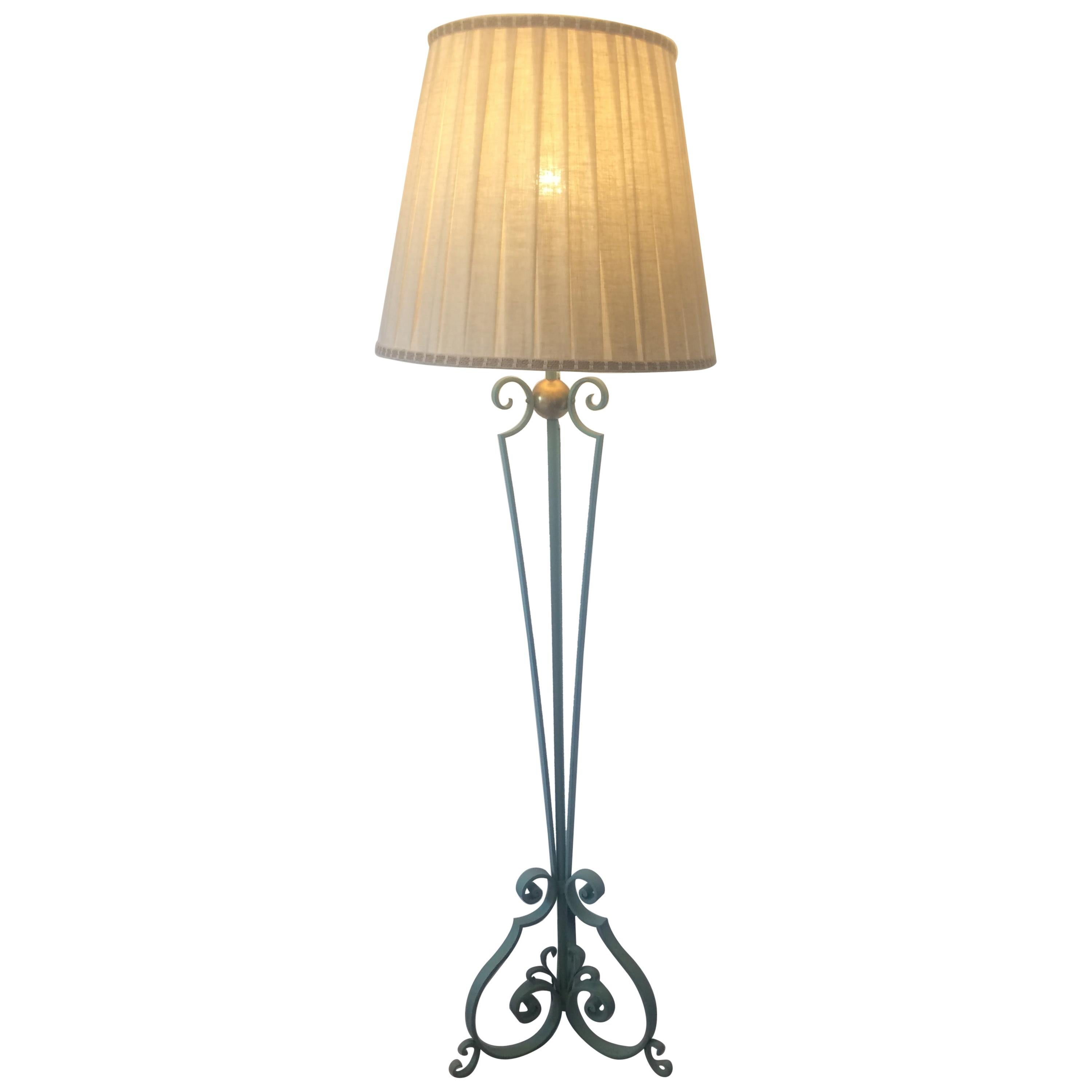 French Wrought Iron Floor Lamp in the style of Gilbert Pollierat, circa 1950s