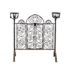 French Wrought Iron Freestanding Firescreen with Warming Holders, circa 1880