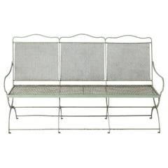 French Wrought Iron Garden Bench with Old Green Paint, circa 1920