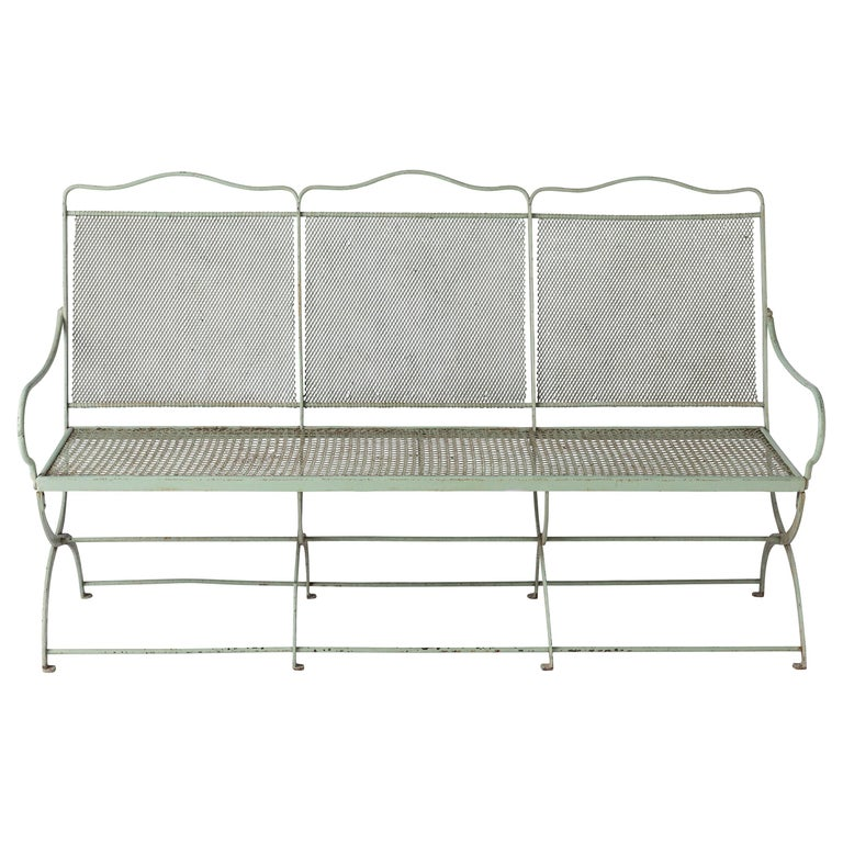 French Wrought Iron Garden Bench with Old Green Paint, circa 1920 For Sale