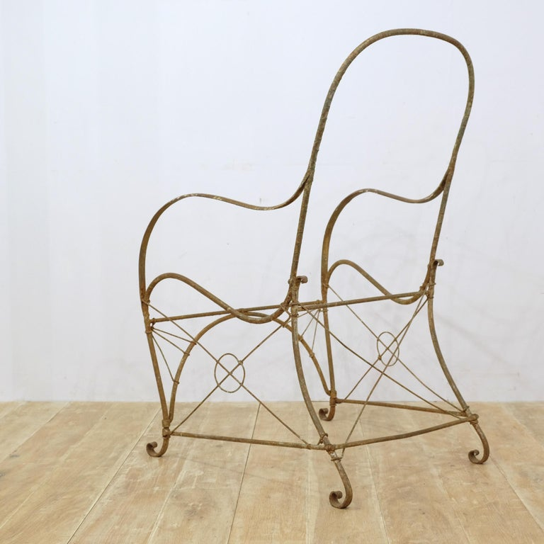 French Wrought Iron Garden Chair Frame, Sculptural, 19th Century, Garden Feature For Sale 5
