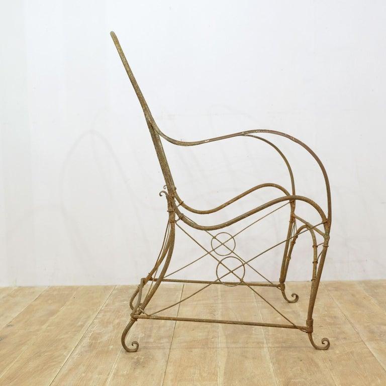 French Wrought Iron Garden Chair Frame, Sculptural, 19th Century, Garden Feature For Sale 6