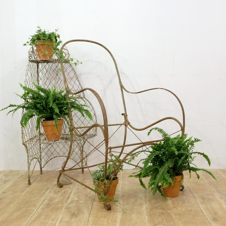French Wrought Iron Garden Chair Frame, Sculptural, 19th Century, Garden Feature For Sale 7