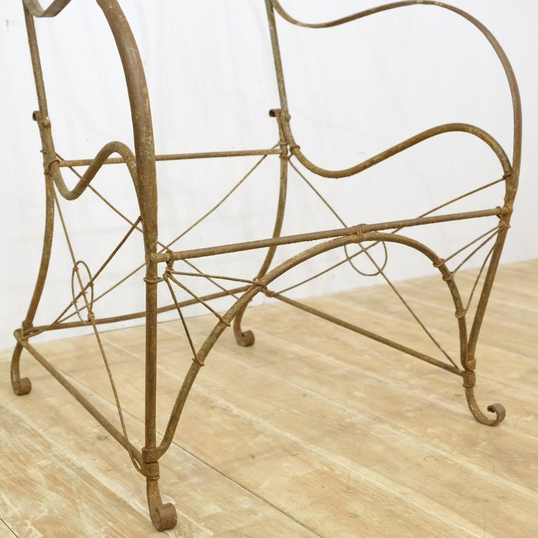 French Provincial French Wrought Iron Garden Chair Frame, Sculptural, 19th Century, Garden Feature For Sale