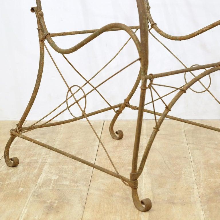 French Wrought Iron Garden Chair Frame, Sculptural, 19th Century, Garden Feature For Sale 3
