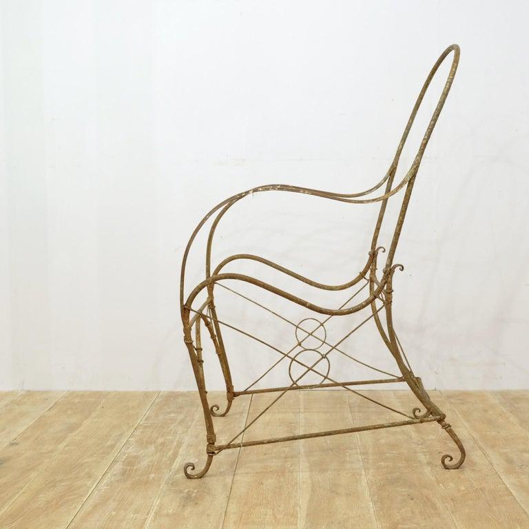 French Wrought Iron Garden Chair Frame, Sculptural, 19th Century, Garden Feature For Sale 4