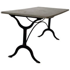 French Wrought Iron Garden Table with Marble Top