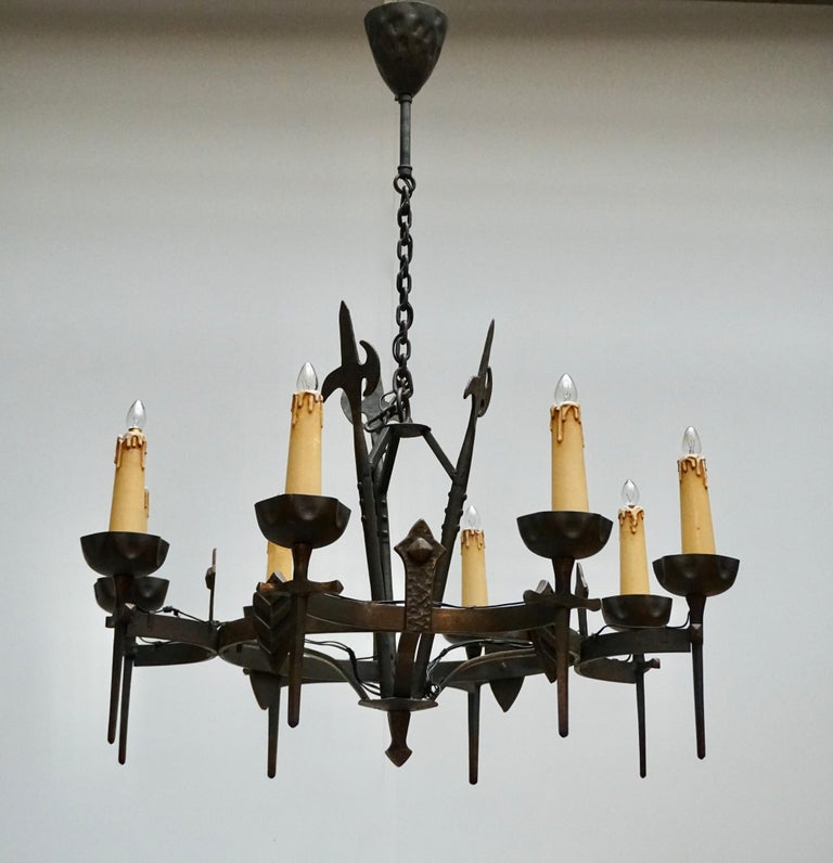Hammered French Wrought Iron Gothic Hollywood Regency Tole Chandelier For Sale