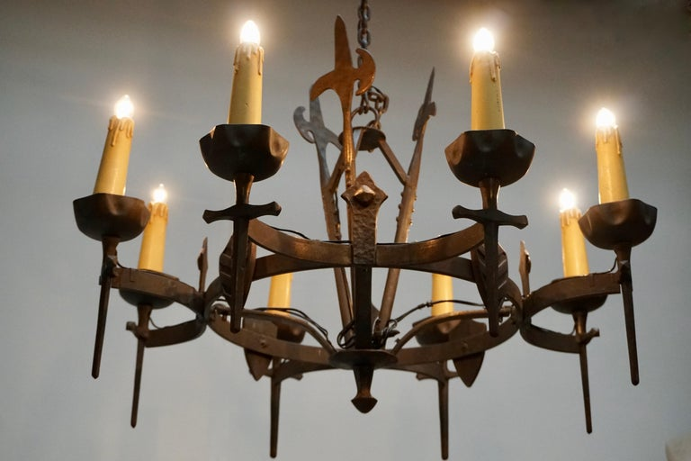 19th Century French Wrought Iron Gothic Hollywood Regency Tole Chandelier For Sale
