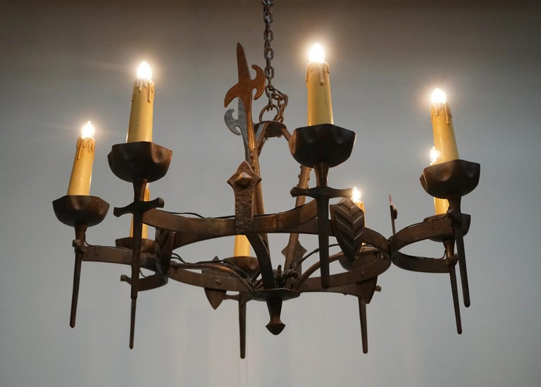 French Wrought Iron Gothic Hollywood Regency Tole Chandelier For Sale 3