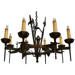 French Wrought Iron Gothic Hollywood Regency Tole Chandelier